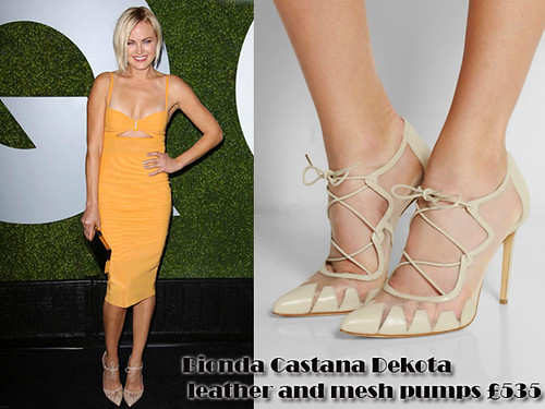 Malin Akerman in Bionda Castana Dekota leather and mesh pumps & yellow cut out dress
