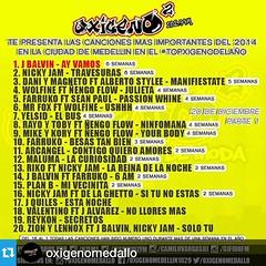 @jbalvin: #Repost @oxigenomedallo with @repostapp.・・・Estas son las 20 canciones mas importantes de la ciudad de Medellin en el #Topxigenodelaño presentadas por @Hzfm1 @Djfidofm @camilovargasdj @jessiruizfm en la emisora que esta de moda en la ciudad @Oxig