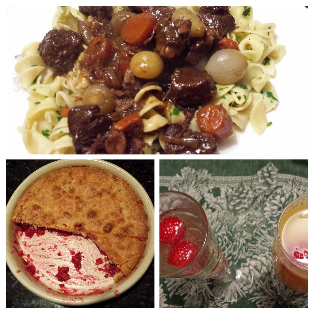 Our New Year's Eve tradition is an incredible meal made by Kathryn. This year's was Julia's Boeuf Bourguignon and cranberry cake. Yum!
