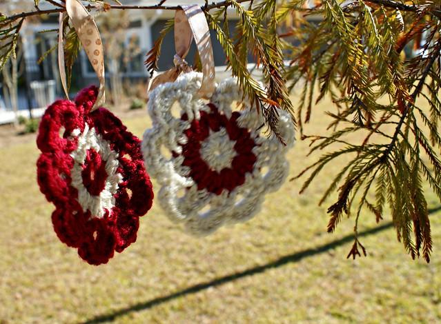 Blurry crochet flower decorations