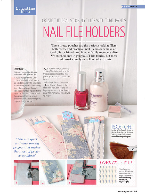 Nail file holders by Torie Jayne in Sew Magazine