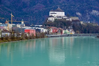 River Inn and Kufstein with fortress in Austria
