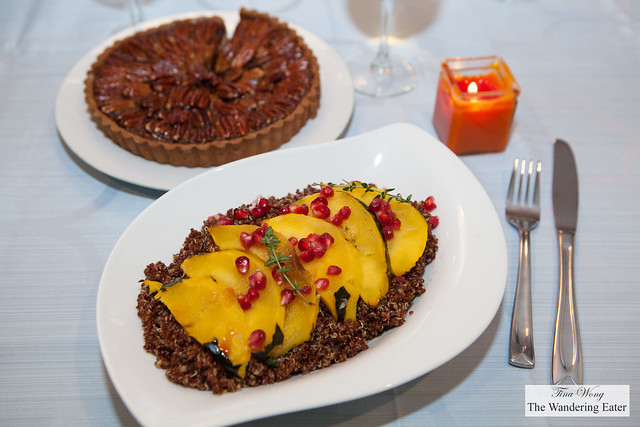 Red quinoa salad with roast acorn squash and pomegranate arils