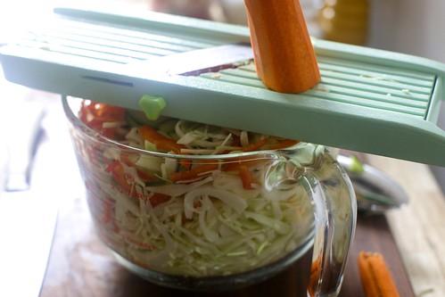 shaving down the vegetables