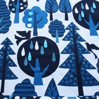 van marieke trees and birds blue
