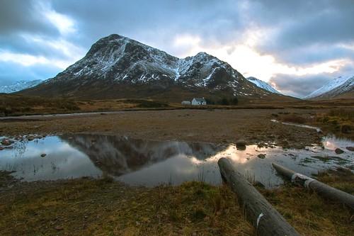 snow mountains reflections scotland glencoe