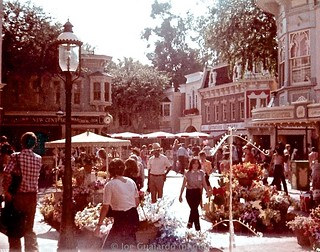 Main Street USA (July 1981) at Disneyland [notice the tall original trees prior to replacement in October]