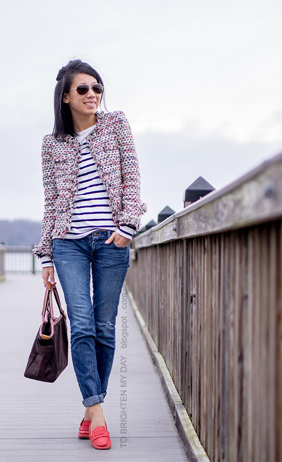 tweed jacket, striped tee, red loafers
