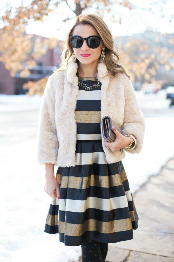 ASOS Petite Metallic Striped Dress
