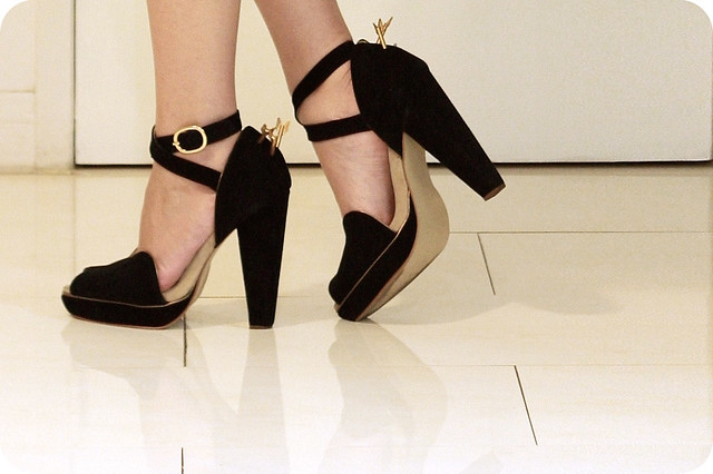 "Black suede ""Lovestruck"" cupid arrow platform heels (Sretsis)"