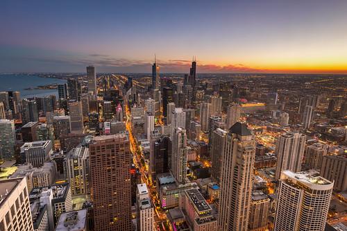 city blue sunset urban chicago skyscraper observation illinois nikon downtown view sears 360 deck observatory hour hancock nikkor trump f4 willis d600 d610 1635mm