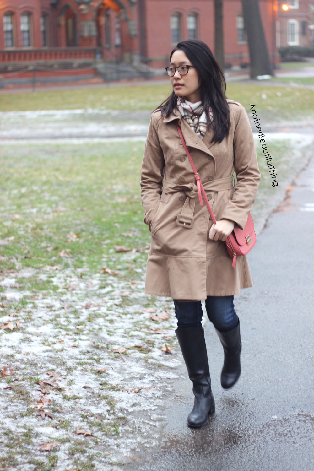 Flare trench coat and plaid scarf with black winter boots
