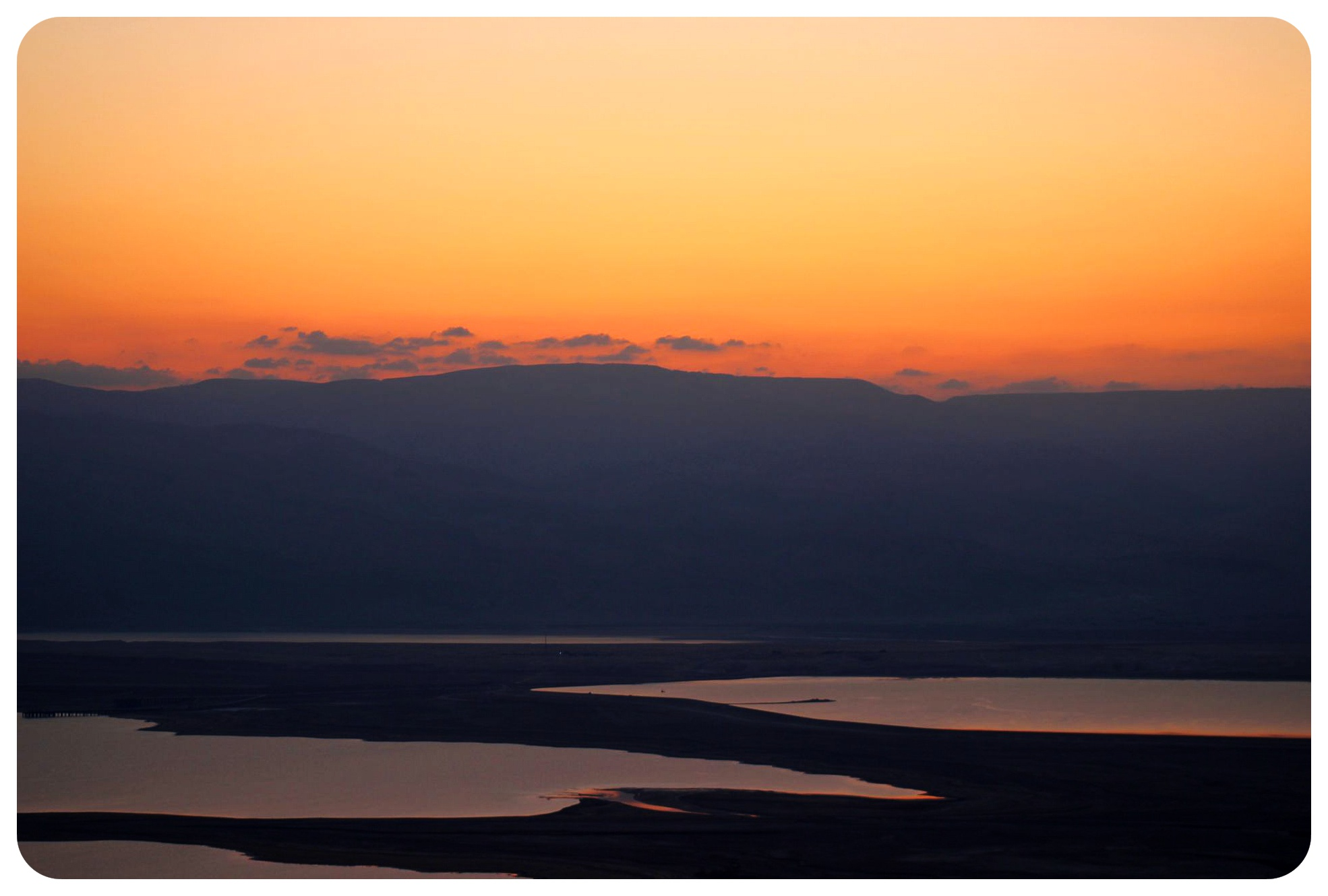 dead sea just before sunrise israel