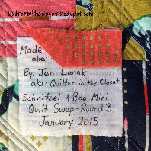 Label on my Schnitzel and Boo Mini Quilt