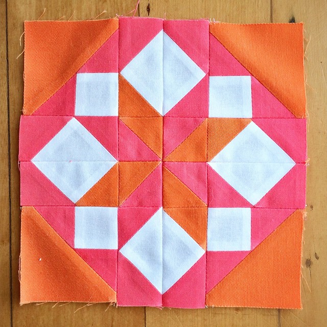 "Block 22. No need for a chair to photograph this one, it's a petite 6"". #modernbuildingblocks #modabuildingblocks #patchwork #quilt"