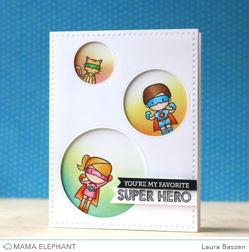 Mama Elephant-Sew Fancy dies & Tiny Heroes stamps