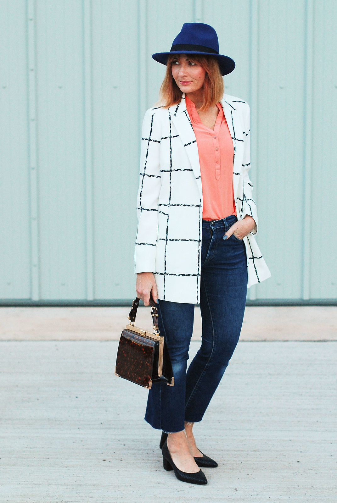 A smart casual look for AW16: Grid print black and white blazer, cropped flared jeans, blue fedora, peach shirt, faux croc block heeled shoes and tortoiseshell bag | Not Dressed As Lamb, over 40 style