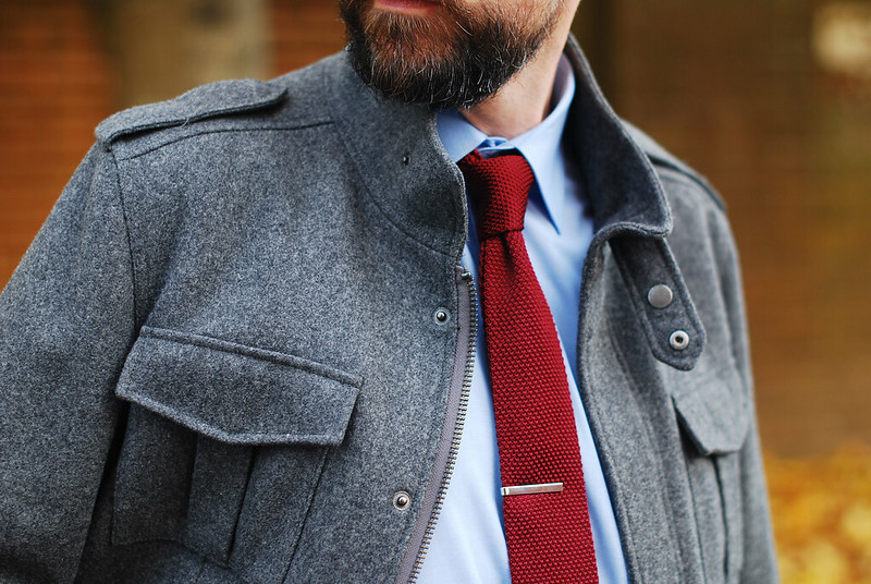 Menswear: Knitted Tie and Grey Coat