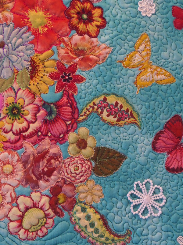 "Detail from ""Gold medal winning small quilt - flower head"""