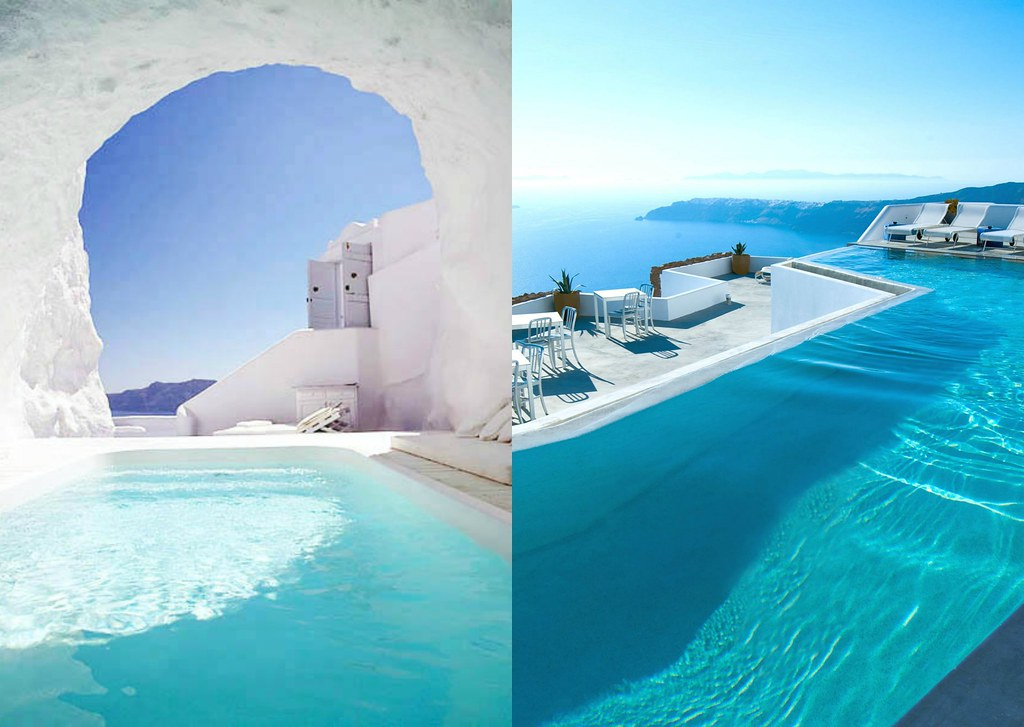 Santorini cave hotel and infinity pool