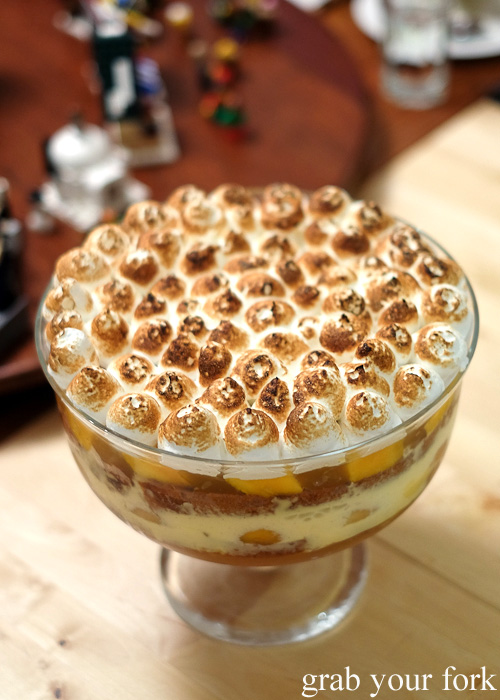 Summer trifle with panettone, passionfruit and Italian meringue at the Stomachs Eleven Christmas dinner 2014