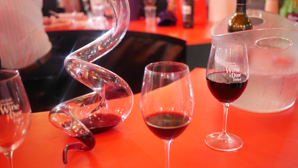 The spiral glass bottle aerates the wine before it is served