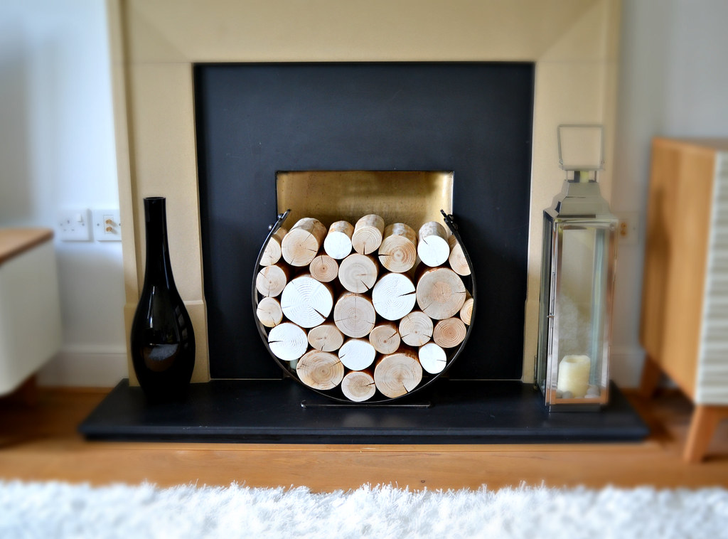 Crisp White And Decorative Whole Logs From The Log Basket In A Round Log  Holder,