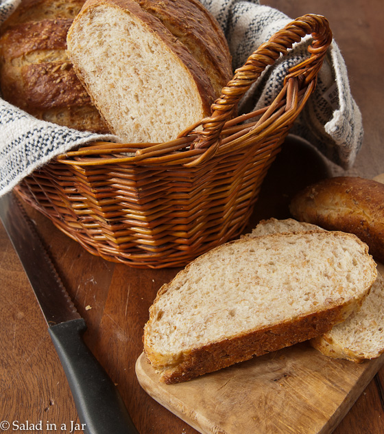 Nubby and Crunchy Cracked Wheat Berry Bread--Use unprocessed wheat straight from the farmer's field to make this scrumptious and healthy bread in your bread machine.  Bake it in your oven for a perfect crust, texture and shape.