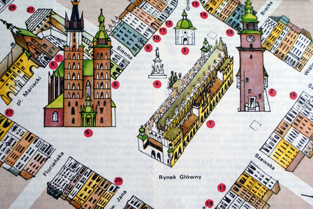 Illustration de la place du marché de Cracovie ou Rynek.