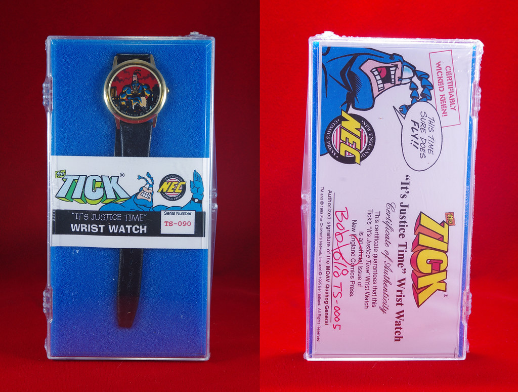 1998 THE TICK ITS JUSTICE TIME WRISTWATCH AN OFFICIAL ISSUE OF NEW ENGLAND COMICS PRESS.