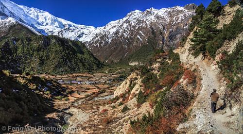 travel autumn nepal panorama mountain snow color beautiful horizontal trek landscape asia village view outdoor scenic vista remote annapurnacircuit annapurna pisang gandaki annapurnaconservationarea