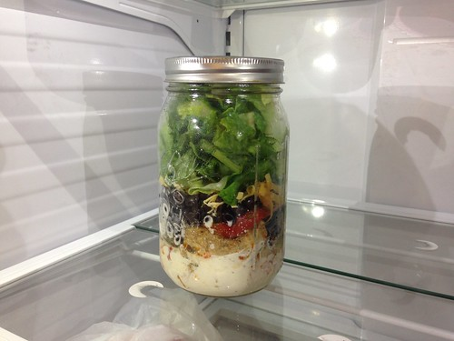 Mason Jar Salad at Work Fridge