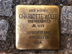 Photo of Charlotte Wolff brass plaque