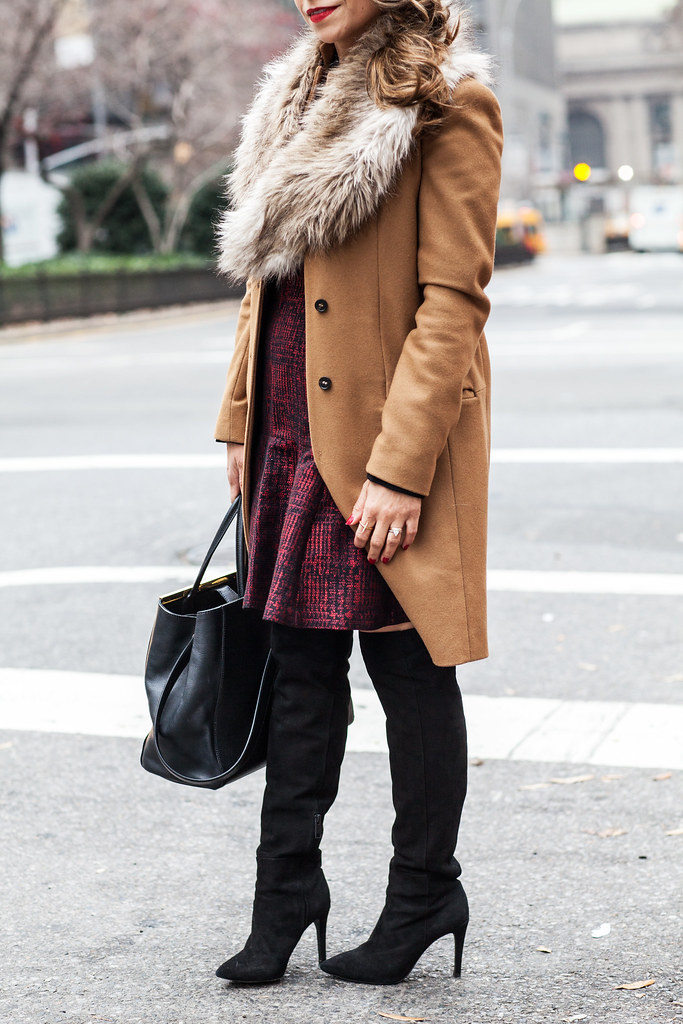 Banana Republic Dress Fendi 2Jour Bag Zara Camel Coat Joie Olivia Boots Forever21 Fur Collar old Luxy Hair Extensions what to wear to work corporate blogger nyc fashion blogger winter outfit professional blogger