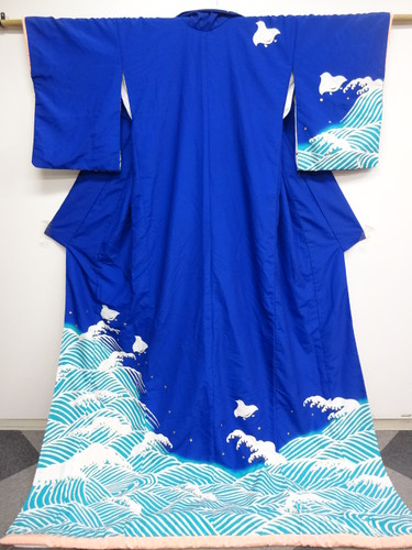 Wave & Chidori Dance Hikizuri Kimono