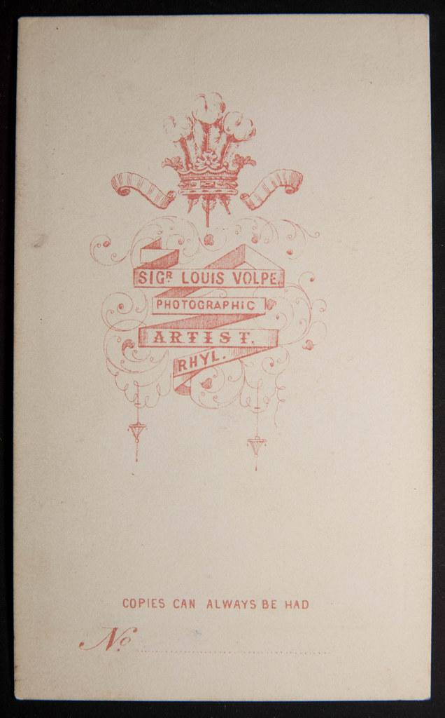 Reverse Of Carte De Visite By Signor Louis Volpe Rhyl Wales O A