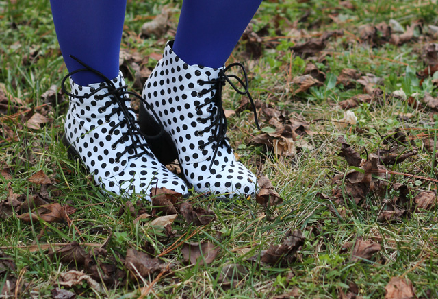 White Polka Dot Lace Up Boots and Blue Tights