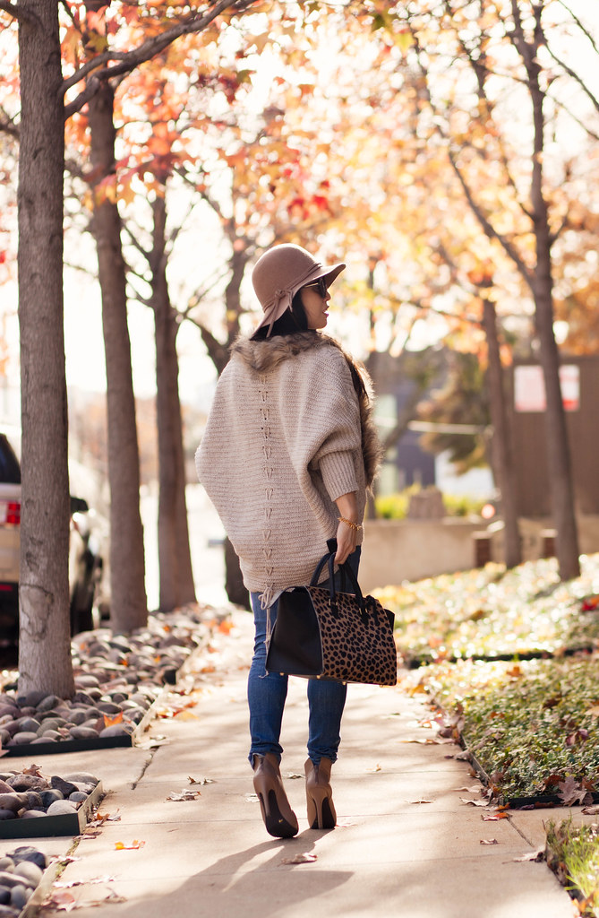 cute & little blog | petite fashion | #maternity #bumpstyle #thirdtrimester 34 weeks | felt floppy hat, batwing fur knit cardigan, waffle sweater, maternity distressed jeans, taupe ankle booties, clare v sandrine leopard satchel | fall layering outfit