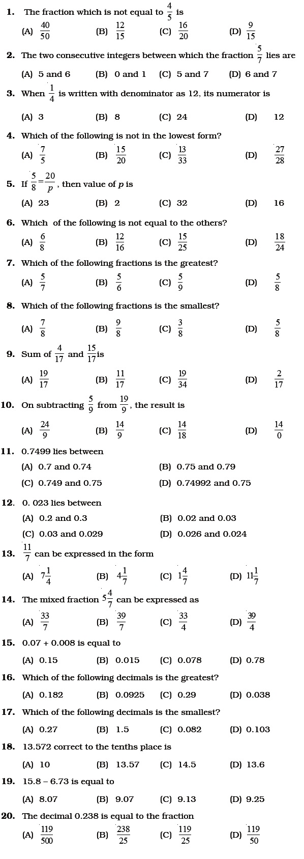 Worksheet Decimals For Grade 6 class 6 important questions for maths fractions and decimals
