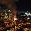 Big fire on a boat at Thunderbird Marina, just below Burrard Street Bridge.