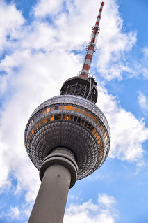 Image of Fernsehturm Berlin near Mitte. sky berlin tower architecture germany de deutschland view himmel alexanderplatz tyskland cityview twtower tvtorn berlinfromabove arestaurantwithaview