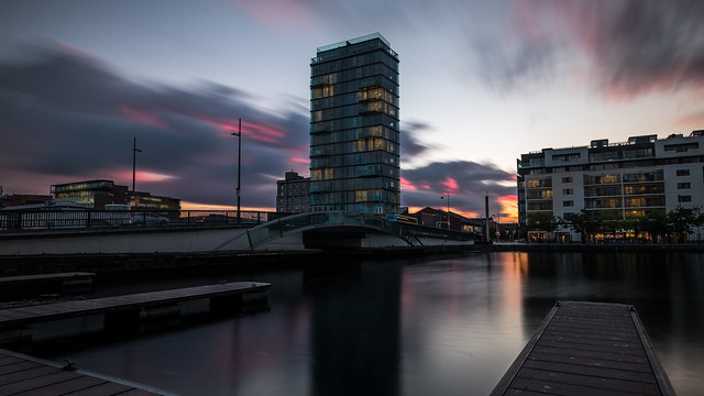 Sunset in Grand Canal - Dublin, Ireland - Cityscape photography