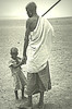 Elder and child of the Rendille people, village of Kargi, northern Kenya, 1984