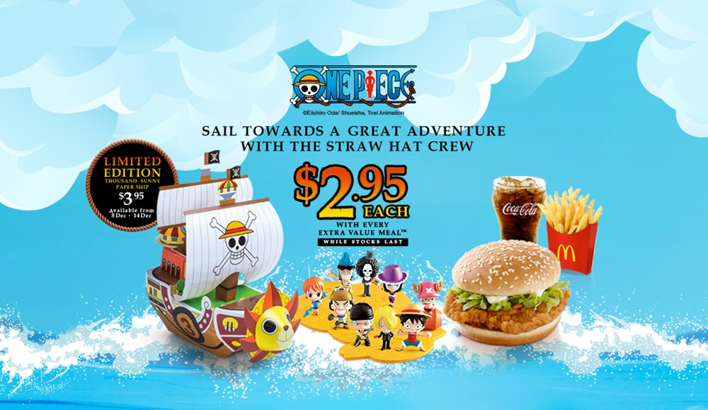 advertorial, anime, evm, extra value meals, figurines, japanese, manga, mcdonald's, one piece, toei animation, toys, 海贼王, singapore