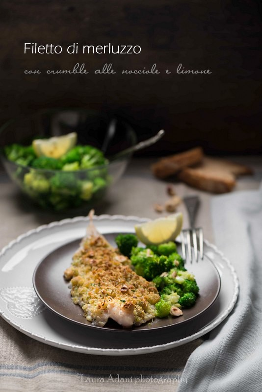 cod fillet with hazelnut crumble