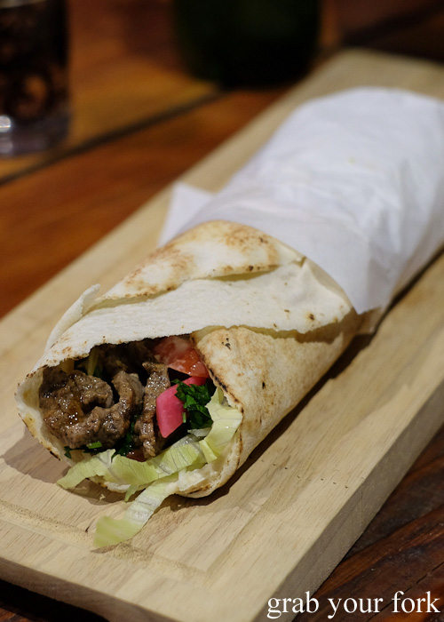 Beef shawarma wrap at The Black Groodle, Ultimo