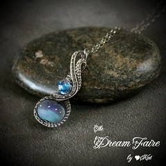 Hyacinth Drop - Lampwork and Sterling Silver Woven Wire Drop Necklace