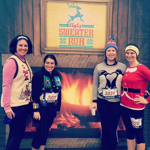 Ugly Sweaters, Beautiful People. Race finishers! #uglysweaterrun #runchat #fitfluential