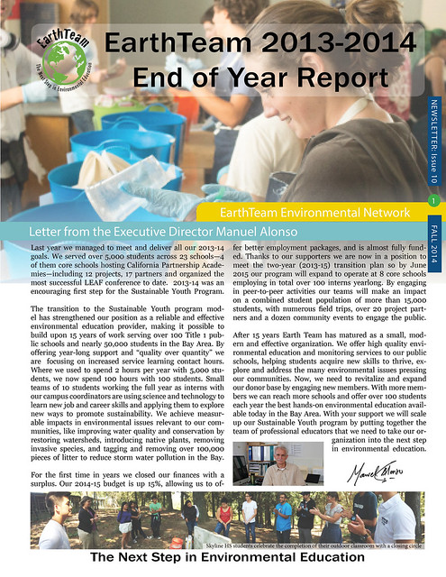 EarthTeam End of Year Report 13-14 Front page (digital)
