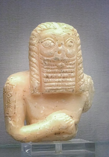 Sumerian stone statue of a man Early Dynastic III about 2600 BCE